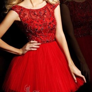 Sherri Hill red cocktail dress, fully beaded top